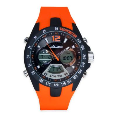 ADM Men's Philadelphia Sport Chronograph Watch in Black Ion-Plated Stainless Steel with Orange Strap