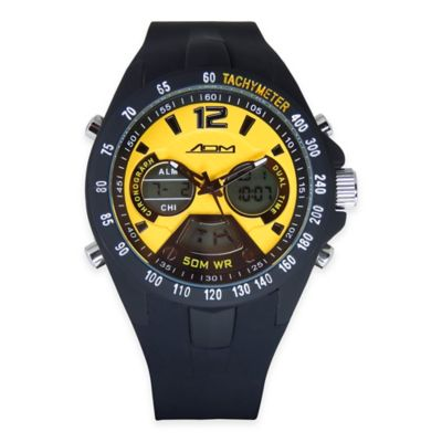 ADM Men's Philadelphia Sport Chronograph Watch in Black Ion-Plated Stainless Steel with Black Strap