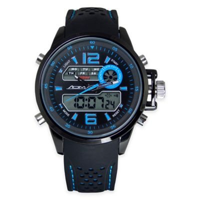 Black Ion-Plated Stainless Steel with Blue Strap