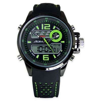 ADM Men's St. Louis Sport Chronograph Watch in Black Ion-Plated Stainless Steel with Green Strap