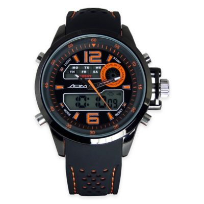 Black Ion-Plated Stainless Steel with Orange Strap