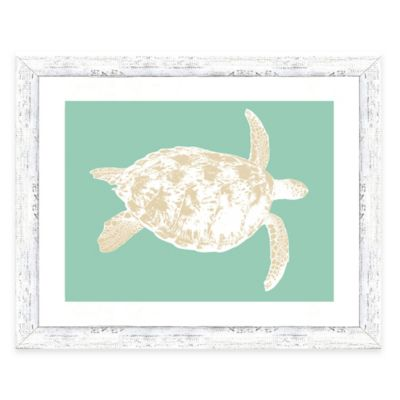 Framed Giclée Teal and Sepia Turtle Print