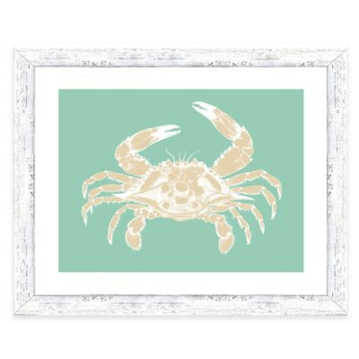 Framed Giclée Teal and Sepia Crab Print