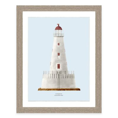 Framed Giclée Blue Lighthouse Print I