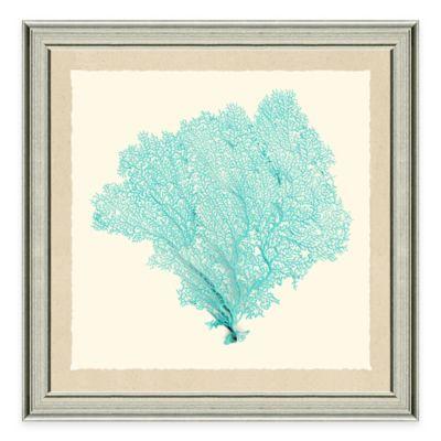Framed Giclée Teal Sea Fan Print II Wall Art
