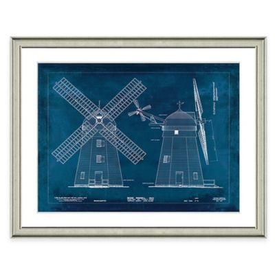 Framed Giclée Windmill Patent Print II Wall Art
