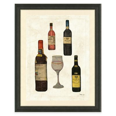 Framed Giclée Wine Bottles I Print Wall Art