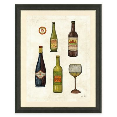 Framed Giclée Wine Bottles II Print Wall Art