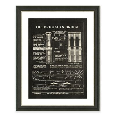 Framed Giclée Brooklyn Bridge Patent Print Wall Art
