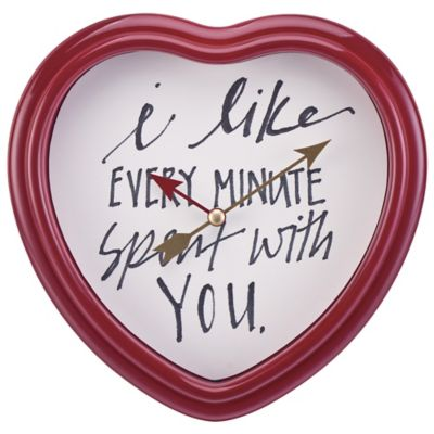 "Sterling & Noble ""Every Minute Spent with You"" Cupid's Wall Clock in Red"