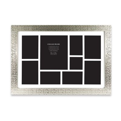 9-Photo Collage Picture Frame in Silver Tile Finish