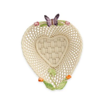 Belleek Rosebud Heart Basket