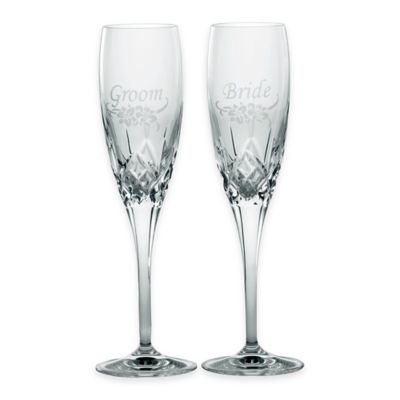 "Belleek Galway Crystal ""Bride"" and ""Groom"" Champagne Flutes (Set of 2)"
