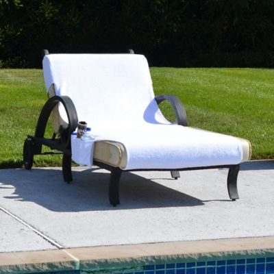 Grand Chaise Lounge Cover with Accessory Pockets in White
