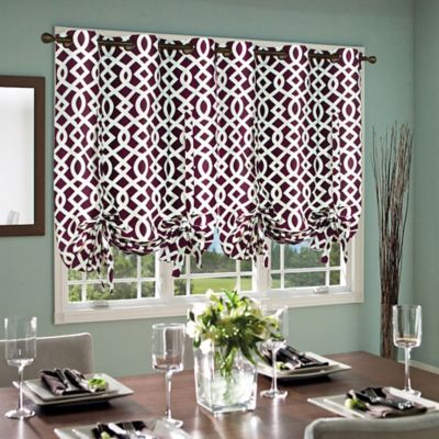 Commonwealth Home Fashions Trellis 63-Inch Grommet Top Tie-Up Window Curtain Panel in Aubergine