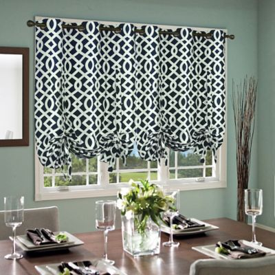 Commonwealth Home Fashions Trellis 63-Inch Grommet Top Tie-Up Window Curtain Panel in Navy