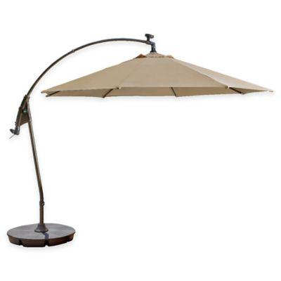 11-Foot Round Solar Cantilever Umbrella in Sunbrella® Beige