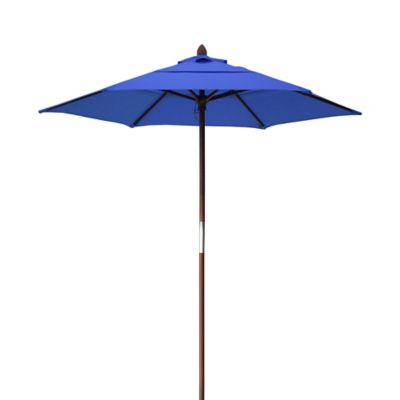 Resort 7 3/4-Foot Wood Beach Umbrella in Light Blue