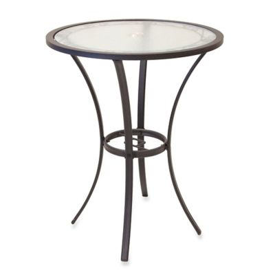 27-Inch Round Tempered Glass Top High Balcony Table