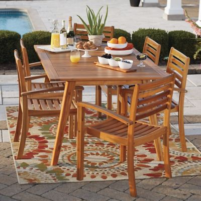 Westerly Acacia Wood 4-Person Saddle Table