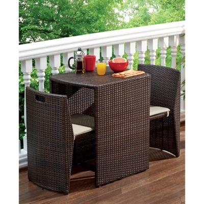 3-Piece Steel Wicker Outdoor Dining Set in Bronze Finish