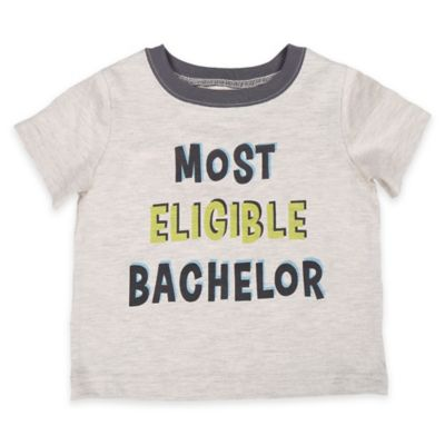 """Celebrity Kids """"Most Eligible Bachelor"""" Size 12M Short Sleeve T-Shirt in Oatmeal"""