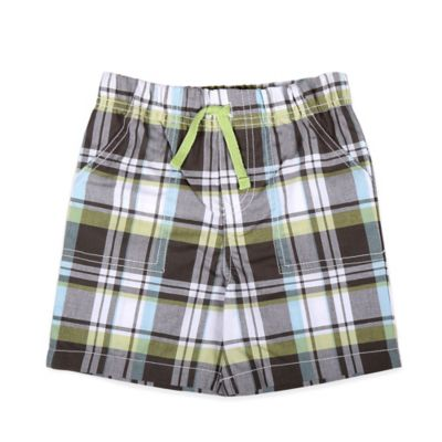 Celebrity Kids Size 18M Plaid Pull-On Short in Grey