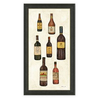 Framed Giclée Wine Bottles Panel I Print Wall Art