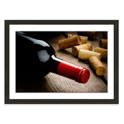 Framed Giclée Wine Bottle and Corks Print Wall Art