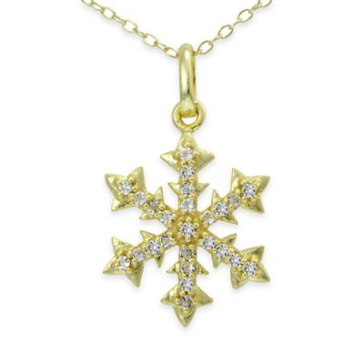 18K Yellow Gold Plated White Topaz 18-Inch Chain Snowflake Pendant