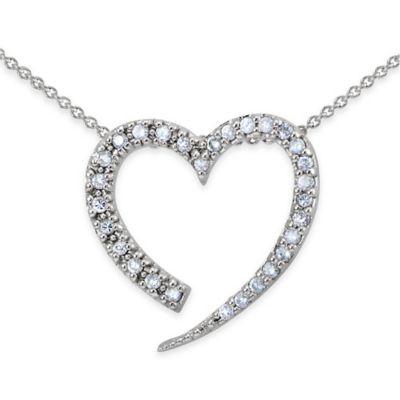 Sterling Silver White Topaz 18-Inch Chain Open Heart Outline Pendant