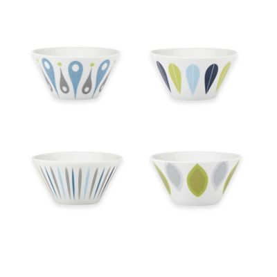 Dansk® The Burbs Decal Blue 4-Piece Bowl Set in White/Blue/Grey/Green