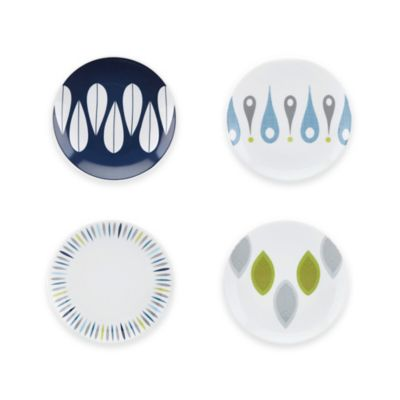Dansk® The Burbs Decal Blue 4-Piece Party Plate Set in White/Blue/Grey/Green