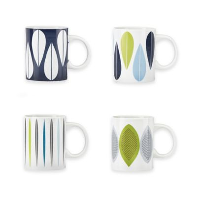 Dansk® The Burbs Decal Blue 4-Piece Mug Set in White/Blue/Grey/Green