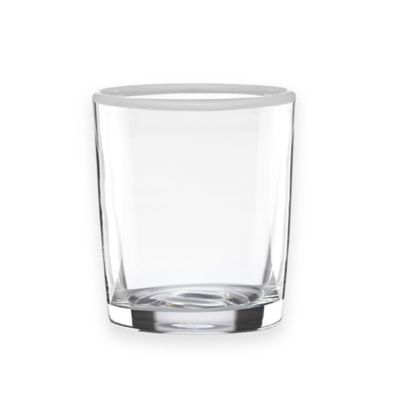 Dansk® The Burbs White Rim Double Old Fashioned Glasses in Clear/White (Set of 4)