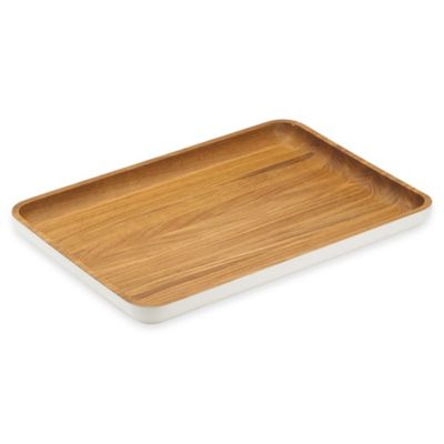 Dansk® The Burbs Large Rectangular Wood Tray in Natural/White