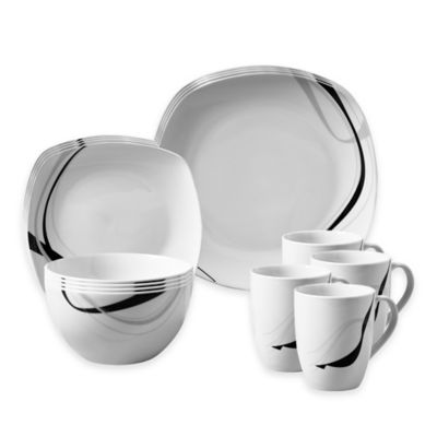 Tabletops Gallery® Carnival 16-Piece Square Dinnerware Set