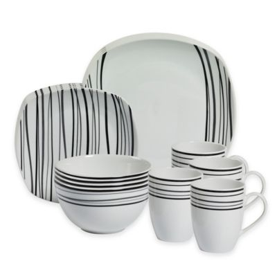 Tabletops Gallery® Justin 16-Piece Square Dinnerware Set