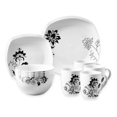 Tabletops Gallery® Rebecca 16-Piece Square Dinnerware Set