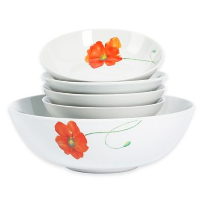 Tabletops Gallery® Poppy 5-Piece Pasta Set