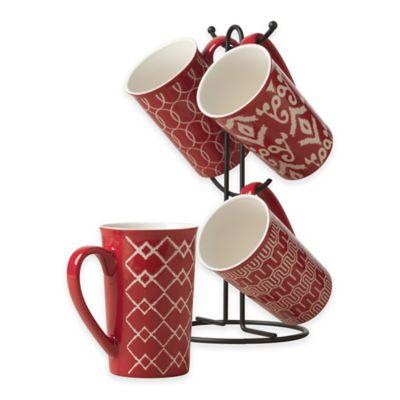 Tabletops Gallery® Mason 5-Piece Mug Tree Set in Red