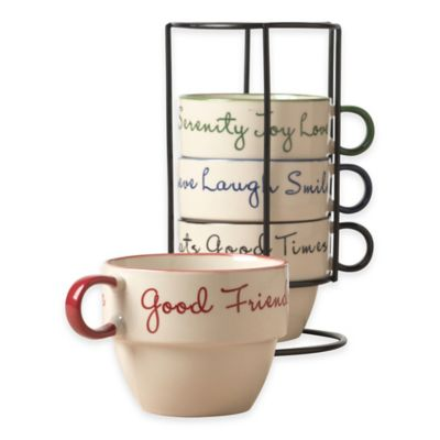 Tabletops Gallery® Sentiment 5-Piece Stacking Mug Set