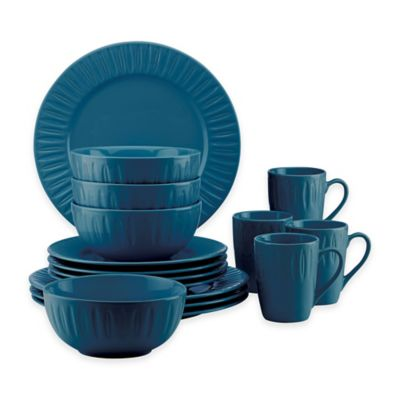Dansk® The Burbs Carved 16-Piece Dinnerware Set in Medium Blue