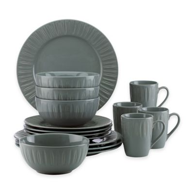 Dansk® The Burbs Carved 16-Piece Dinnerware Set in Slate