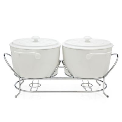 Godinger La Cucina Double Warmer with Metal Stand in White