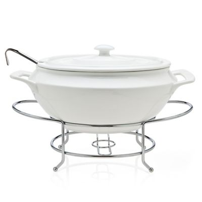 Godinger La Cucina Soup Tureen with Metal Stand in White