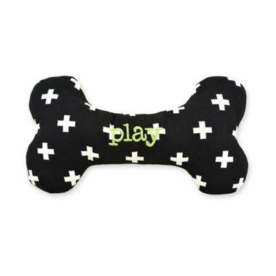 Territory® Modern Small Squeaker Bone Dog Toy in Black