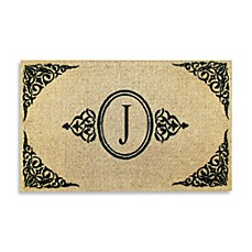 Royal Leaves 22-Inch X 36-Inch Monogrammed Doormat - J