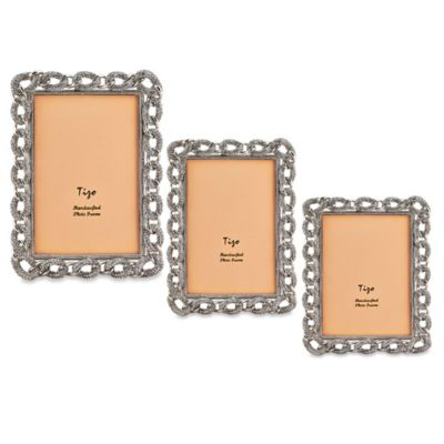Tizo Design 4-Inch x 6-Inch Silver Jeweled Chain with Crystals Picture Frame