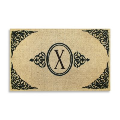 "Royal Leaves 22-Inch X 36-Inch Monogrammed Letter ""X"" Doormat"